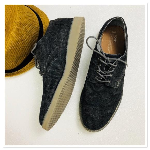 f27b3389c4a TOMS Grey Plaid Oxfords lace up casual shoes s.13.  M 5b3af1b39539f754e7cd5c9b